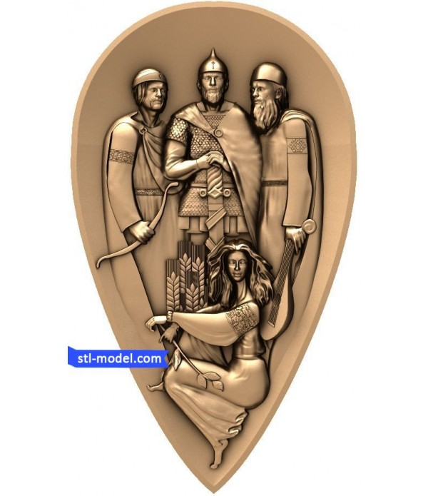 "Bas-relief ""Founders of Kiev"" 