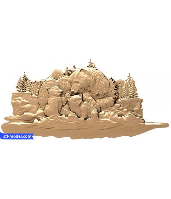 "Bas-relief ""Bear family""   STL - 3D model for CNC"