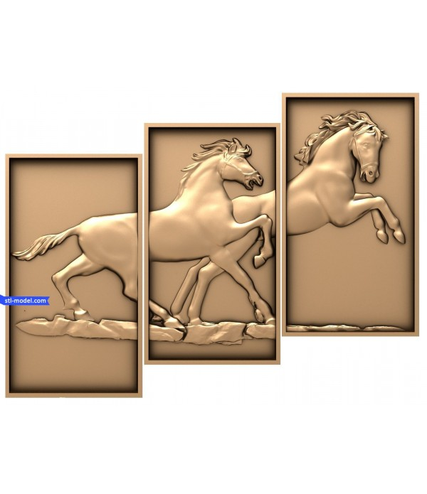 """Bas-relief """"Modular triptych. Strength and grace"""" 