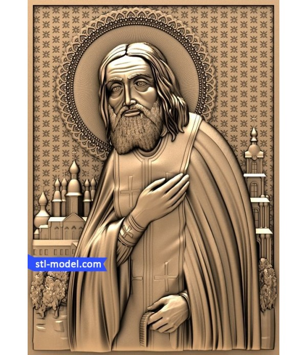 "Icon ""St. Seraphim of Sarov #2"" | STL - 3D model for CNC"