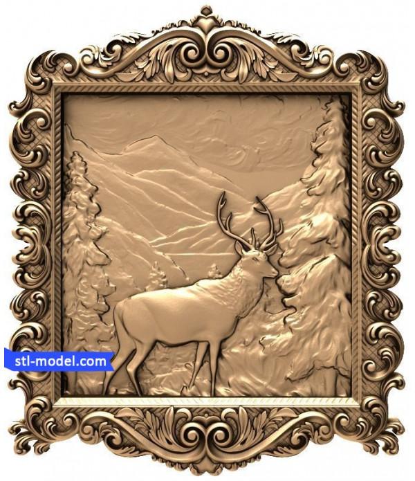 "Bas-relief ""Deer"" | STL - 3D model for CNC"