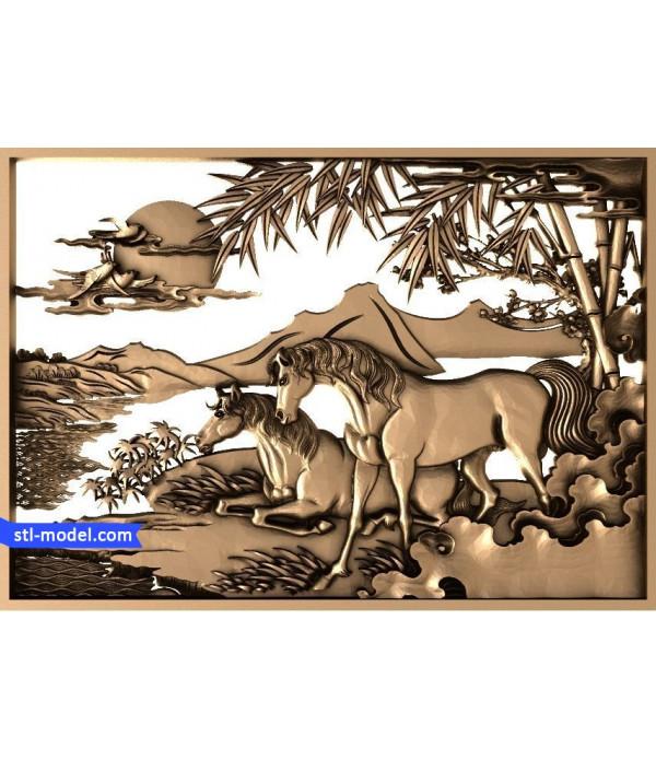 "Bas-relief ""Horse"" | STL - 3D model for CNC"