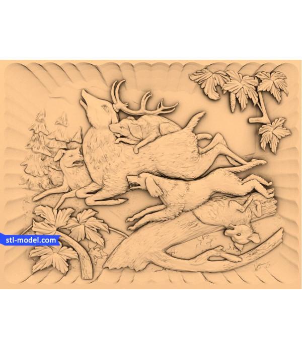 "Bas-relief ""deer Hunting""   STL - 3D model for CNC"