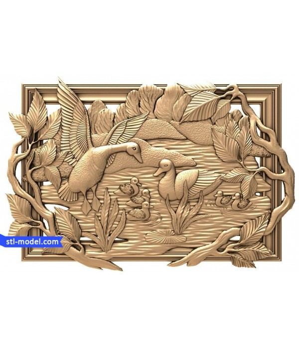 "Bas-relief ""Goose on lake"" 