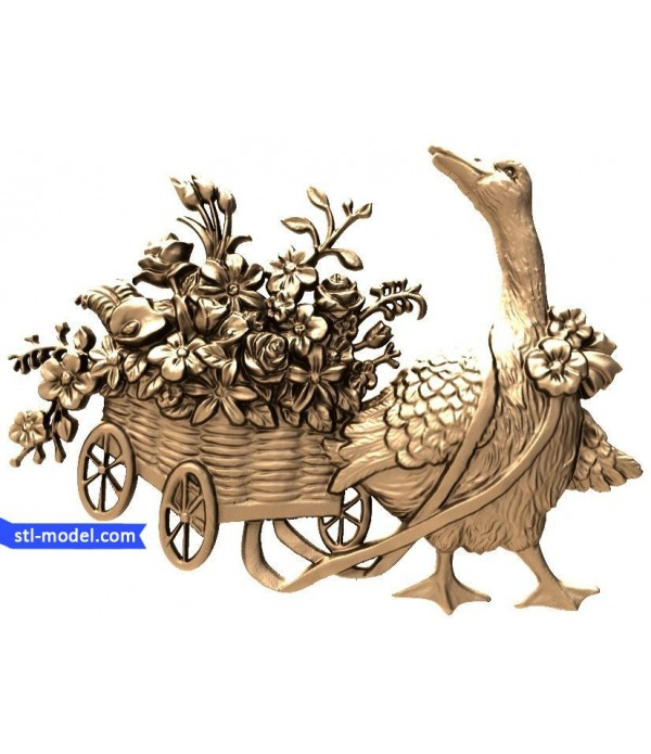 "Bas-relief ""Goose with flowers"" 