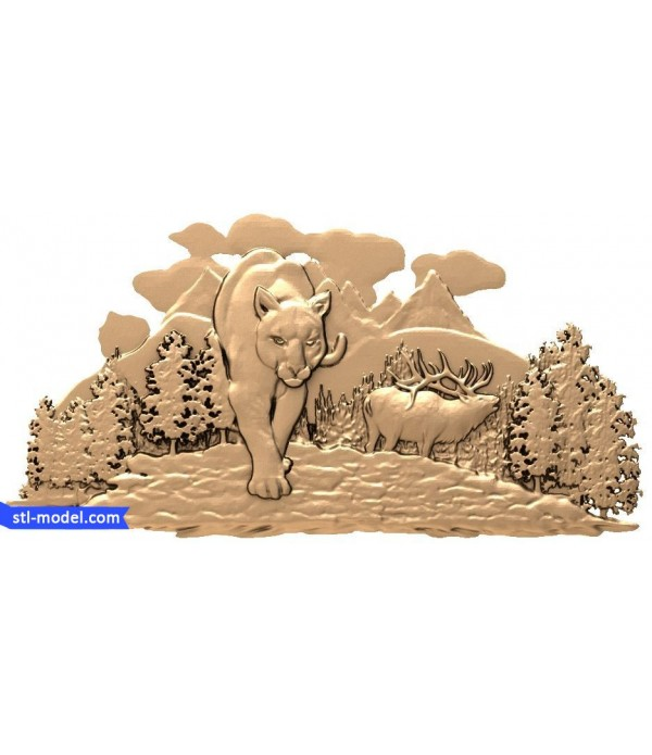 """Bas-relief """"Cougar in the woods"""" 