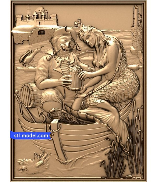 """Bas-relief """"Fisherman and mermaid"""" 