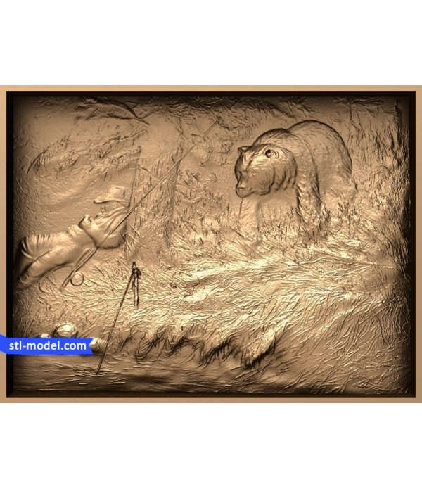 "Bas-relief ""fishing #4"" 