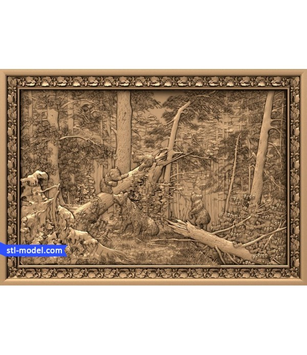 "Bas-relief ""Shishkin. Morning in a pine forest"" 