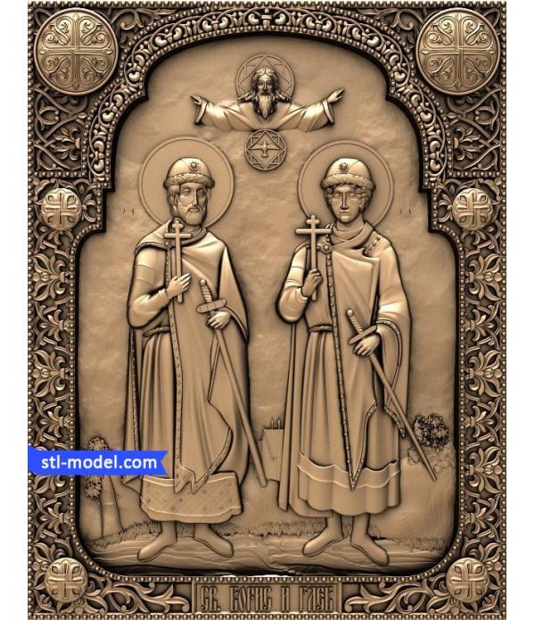 "Icon ""St Boris and St. Gleb""   STL - 3D model for CNC"