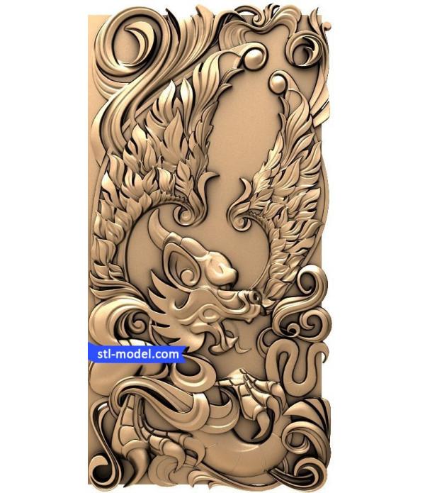 "Backgammon ""Dragon #4"" | STL - 3D model for CNC"