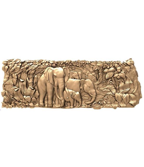 """Bas-relief """"Elephants""""   STL - 3D model for CNC"""