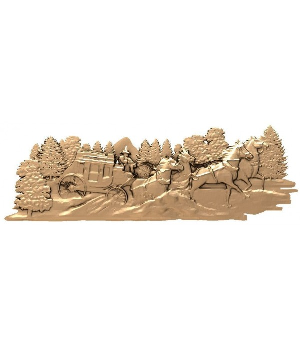 """Bas-relief """"Carriage in the woods"""" 