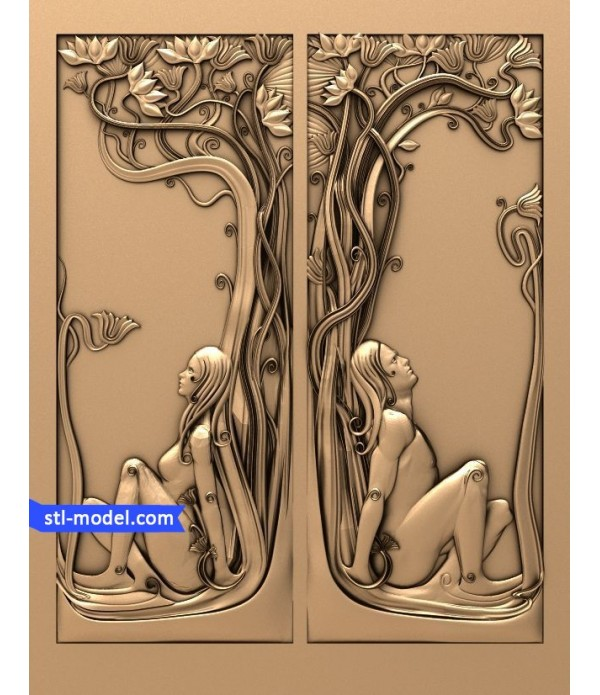 """Bas-relief """"Girl and man""""   STL - 3D model for CNC"""