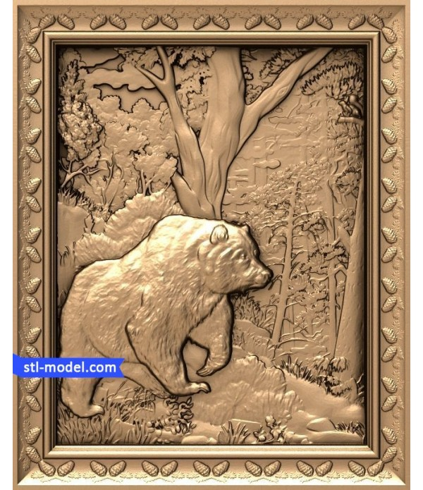 """Bas-relief """"Bear in woods"""" 