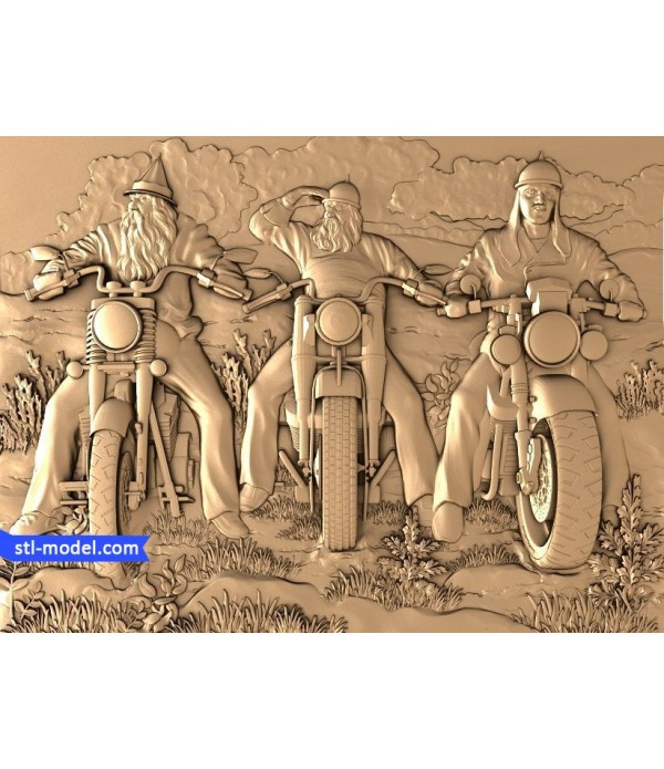 "Bas-relief ""Heroes on motorcycles"" 