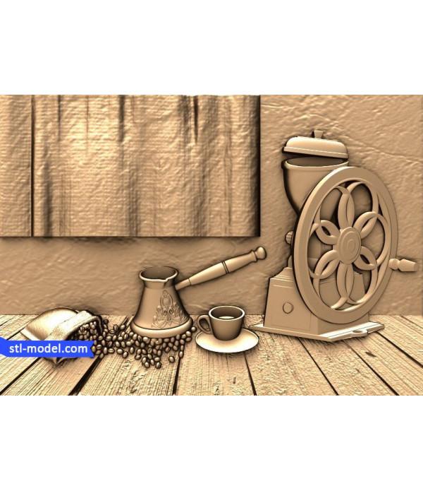 "Bas-relief ""Coffee motif""   STL - 3D model for CNC"