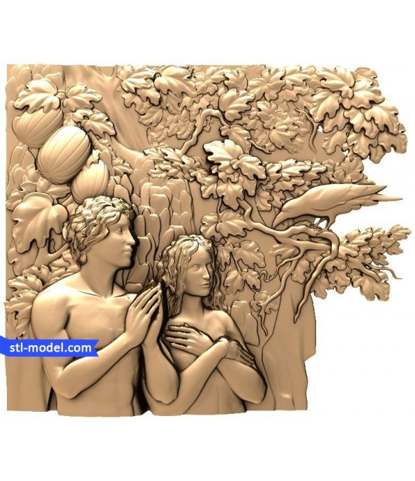 """Bas-relief """"Adam and eve"""" 