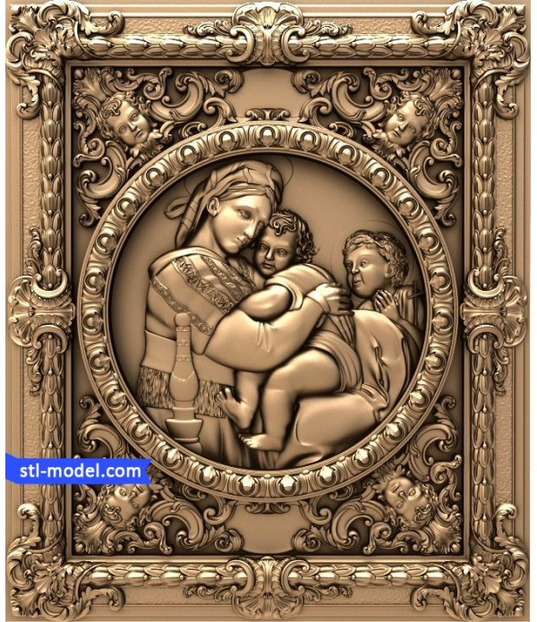 "Bas-relief ""Madonna of the chair Raphael"" 