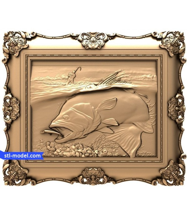 """Bas-relief """"On a fishing trip #2"""" 