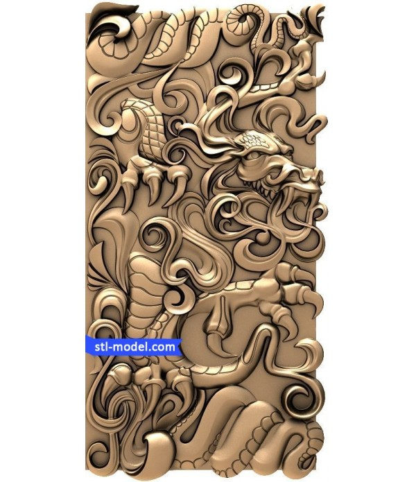 "Backgammon ""Dragon #1"" | STL - 3D model for CNC"