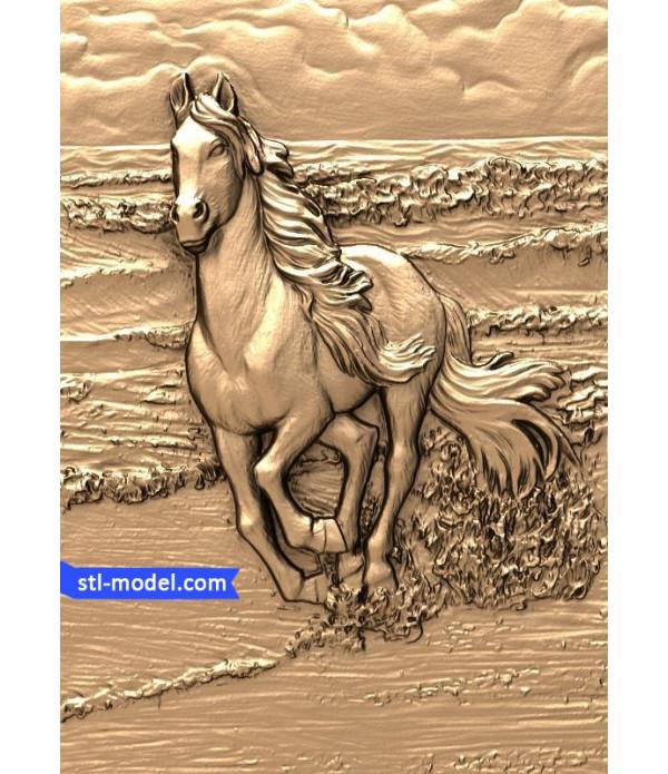 "Bas-relief ""Horse #2"" | STL - 3D model for CNC"