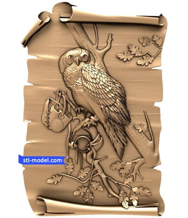 "Bas-relief ""Owl #2""   STL - 3D model for CNC"
