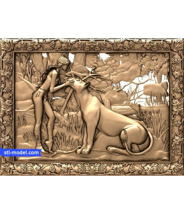 """Bas-relief """"Two lionesses"""" 