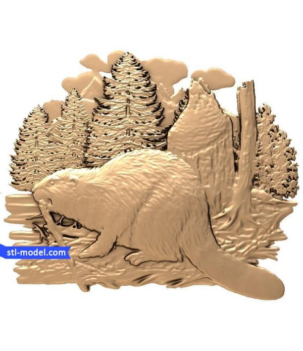 "Bas-relief ""beaver"" | STL - 3D model for CNC"