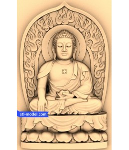 Buddha with a background of №7