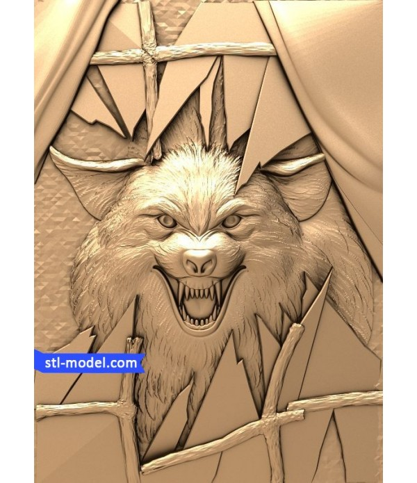 "Bas-relief ""Wolf #2"" 