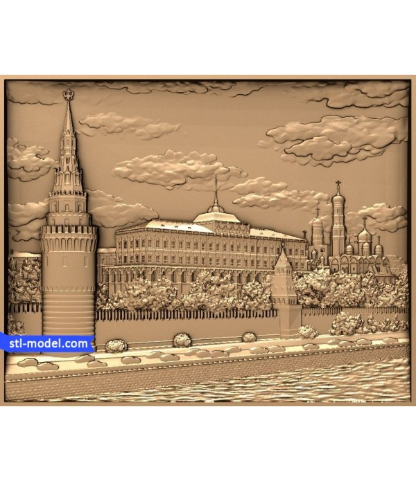 "Bas-relief ""Kremlin embankment"" | 3D STL model for CNC"