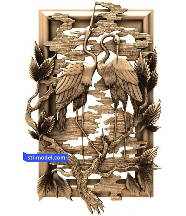 """Bas-relief """"Ostriches #2"""" 
