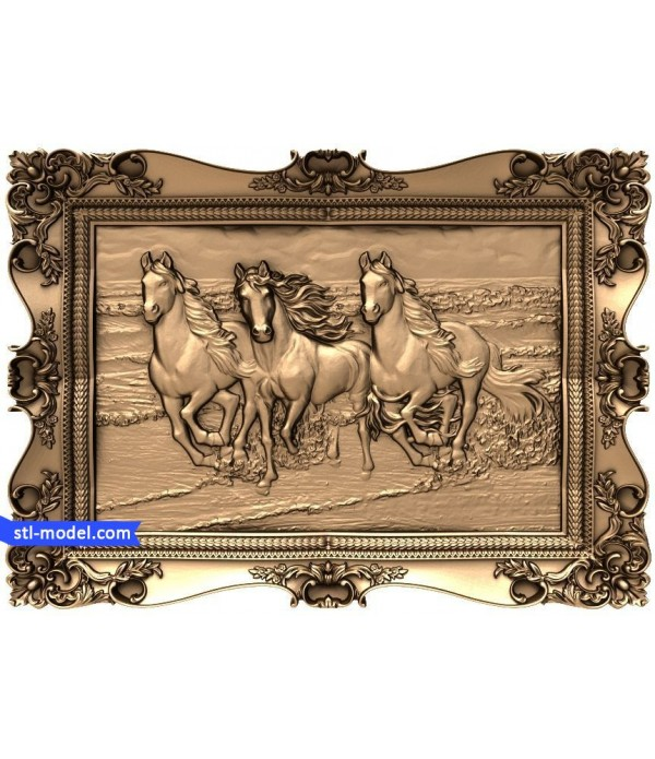 "Bas-relief ""Three horses on the beach"" 