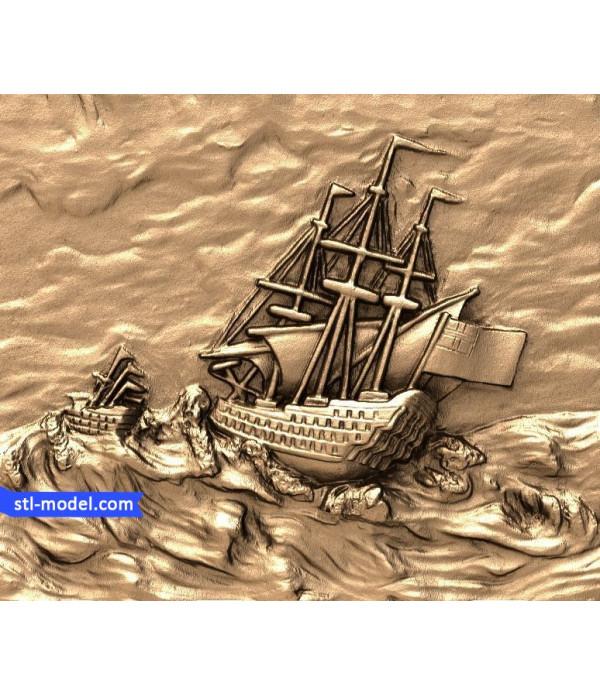 "Bas-relief ""Ship #4"" | STL - 3D model for CNC"
