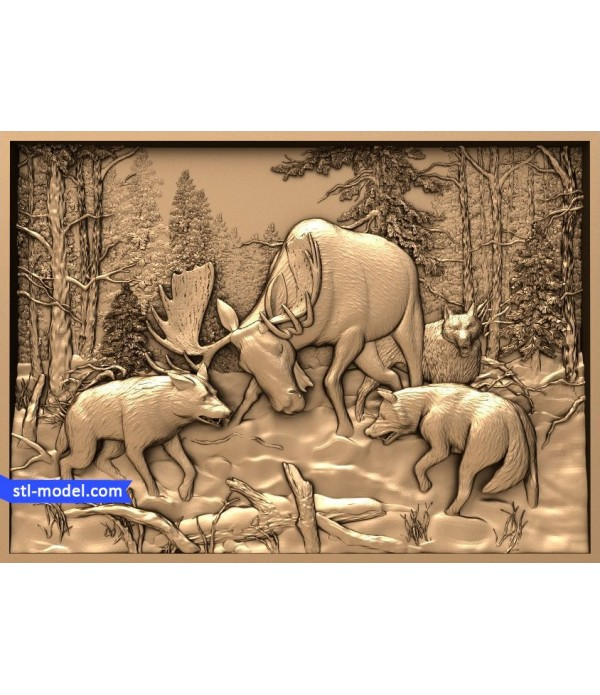 "Bas-relief ""Jancurova. Hunting pack"" 