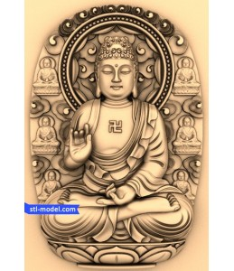 Buddha with a background of №6