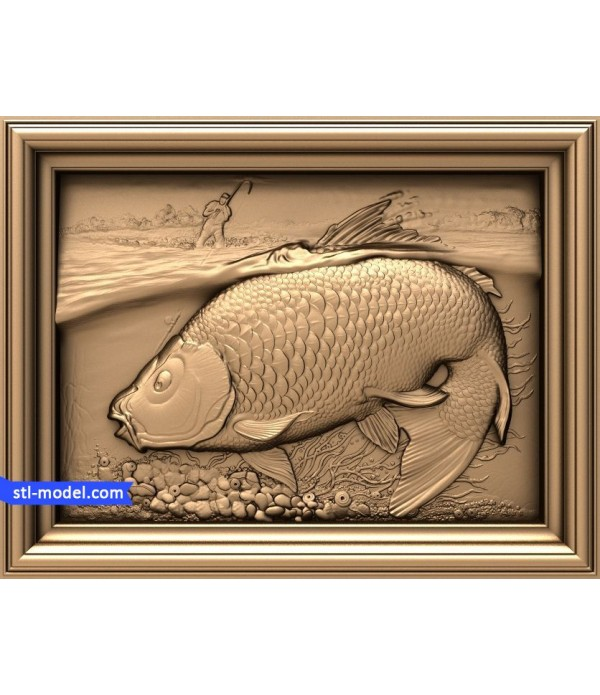 "Bas-relief ""Fisherman and carp"" 