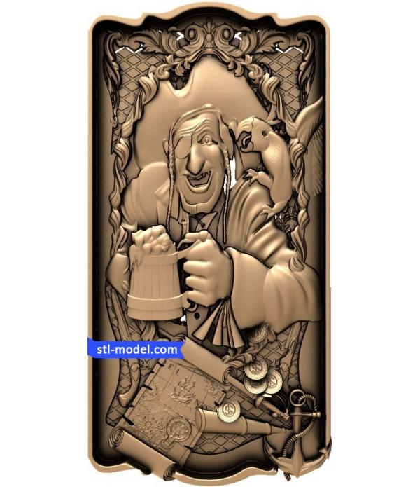 "Backgammon ""Pirate"" | STL - 3D model for CNC"