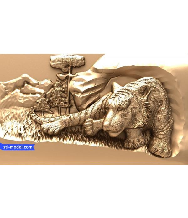 "Bas-relief ""Tiger #4"" | STL - 3D model for CNC"